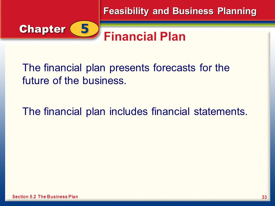 Feasibility and Business Planning 33 Financial Plan The financial plan presents forecasts for the future of the business. The financial plan includes
