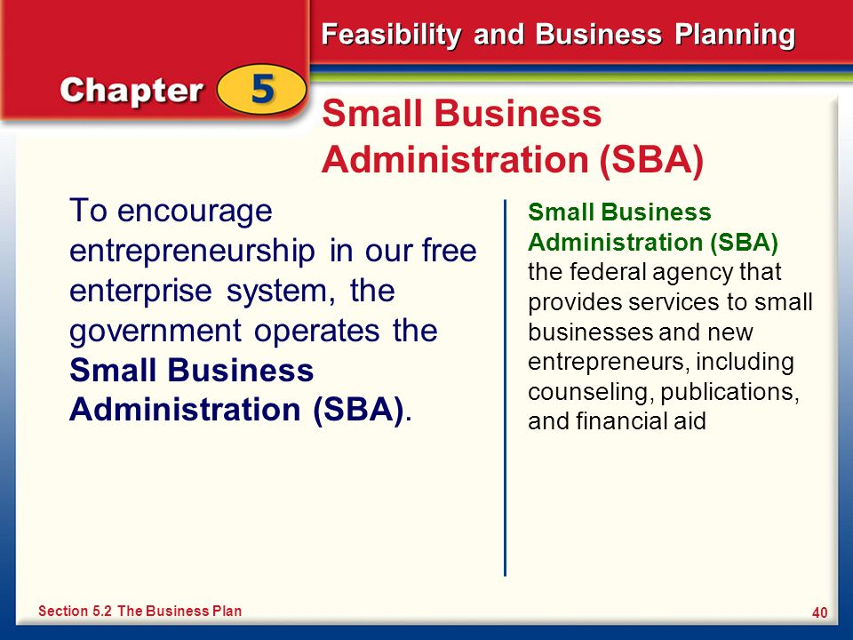 Feasibility and Business Planning 40 Small Business Administration (SBA) To encourage entrepreneurship in our free enterprise system, the government o