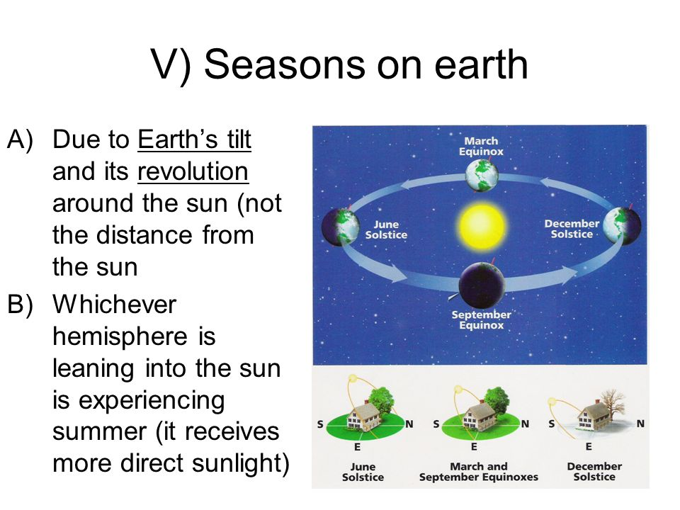 V) Seasons on earth A)Due to Earths tilt and its revolution around the sun (not the distance from the sun B)Whichever hemisphere is leaning into the s