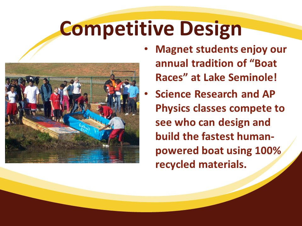 Competitive Design Magnet students enjoy our annual tradition of Boat Races at Lake Seminole.