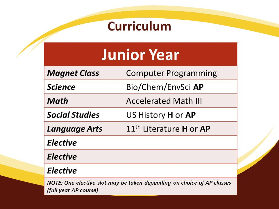 Curriculum Junior Year Magnet ClassComputer Programming ScienceBio/Chem/EnvSci AP MathAccelerated Math III Social StudiesUS History H or AP Language Arts11 th Literature H or AP Elective NOTE: One elective slot may be taken depending on choice of AP classes (full year AP course)