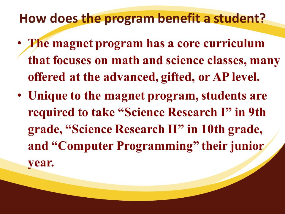 How does the program benefit a student.