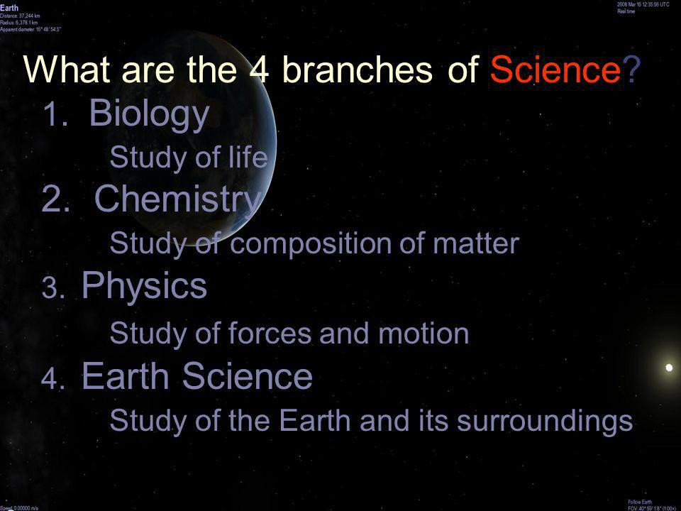 What are the 4 branches of Science? 1. Biology Study of life 2. Chemistry Study of composition of matter 3. Physics Study of forces and motion 4. Eart