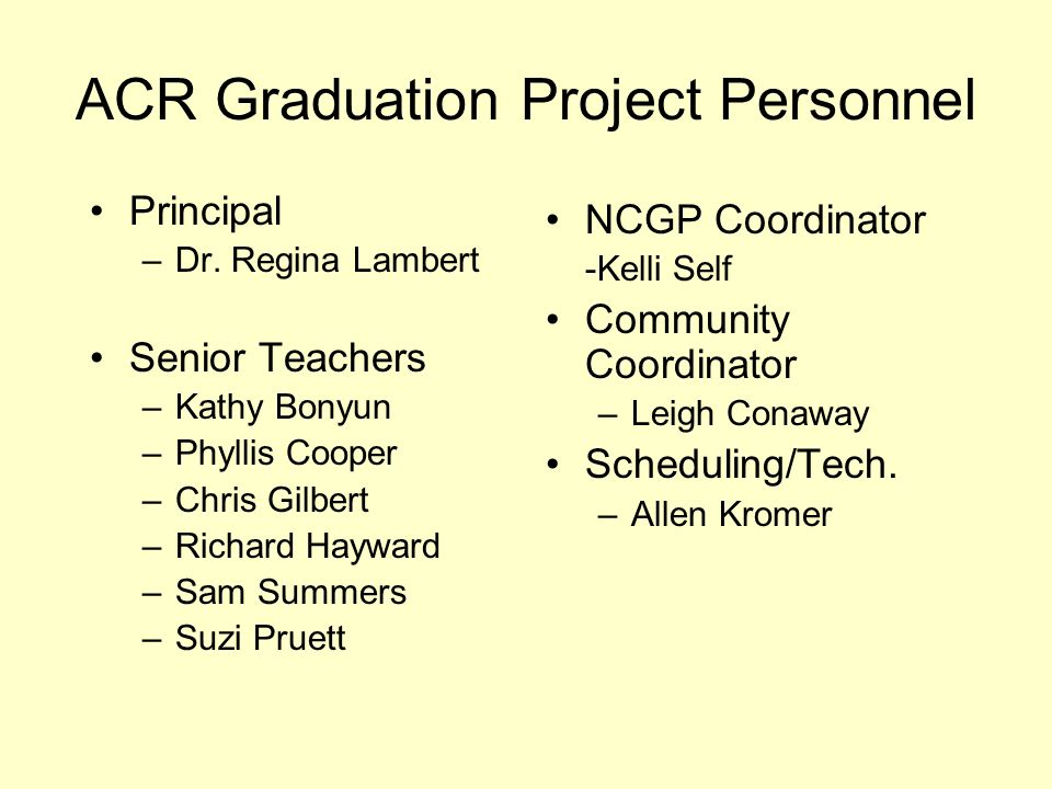 ACR Graduation Project Personnel Principal –Dr. Regina Lambert Senior Teachers –Kathy Bonyun –Phyllis Cooper –Chris Gilbert –Richard Hayward –Sam Summ