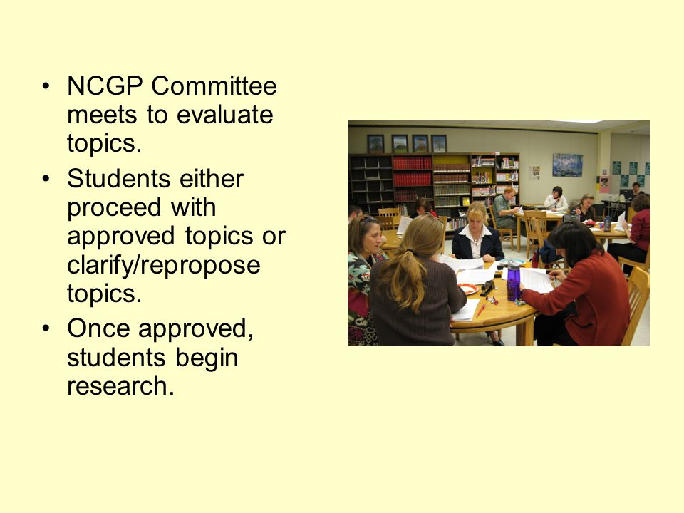 NCGP Committee meets to evaluate topics.