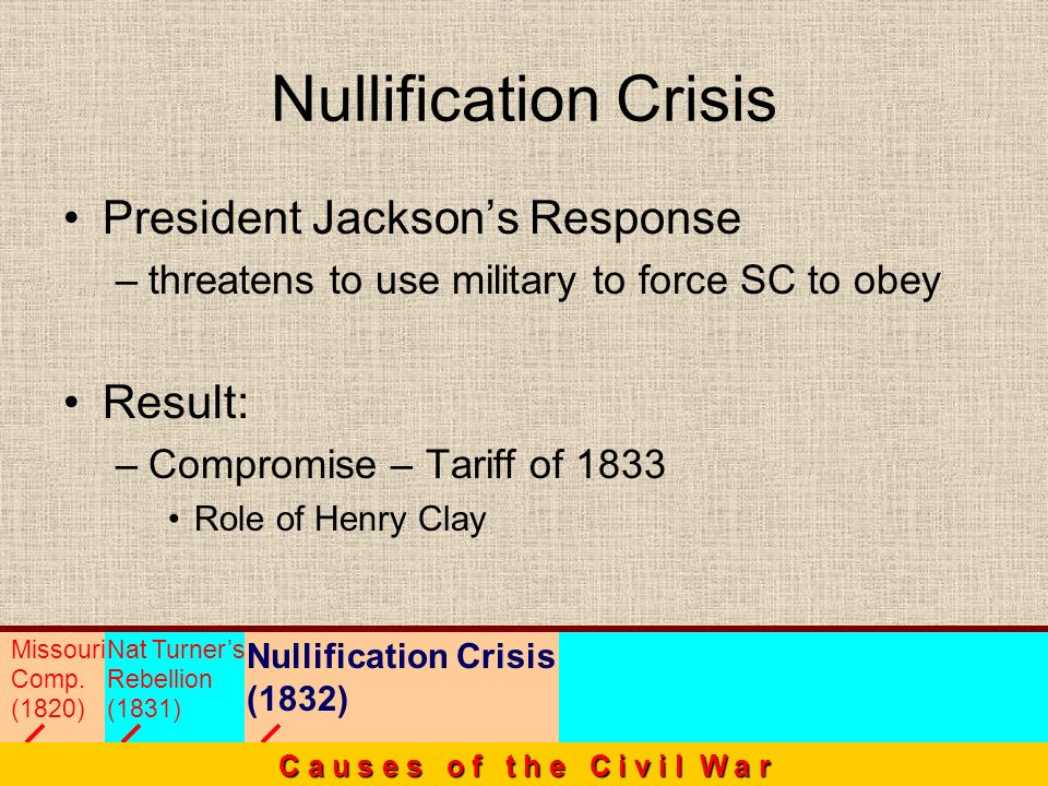 President Jacksons Response –threatens to use military to force SC to obey Result: –Compromise – Tariff of 1833 Role of Henry Clay Nullification Crisi