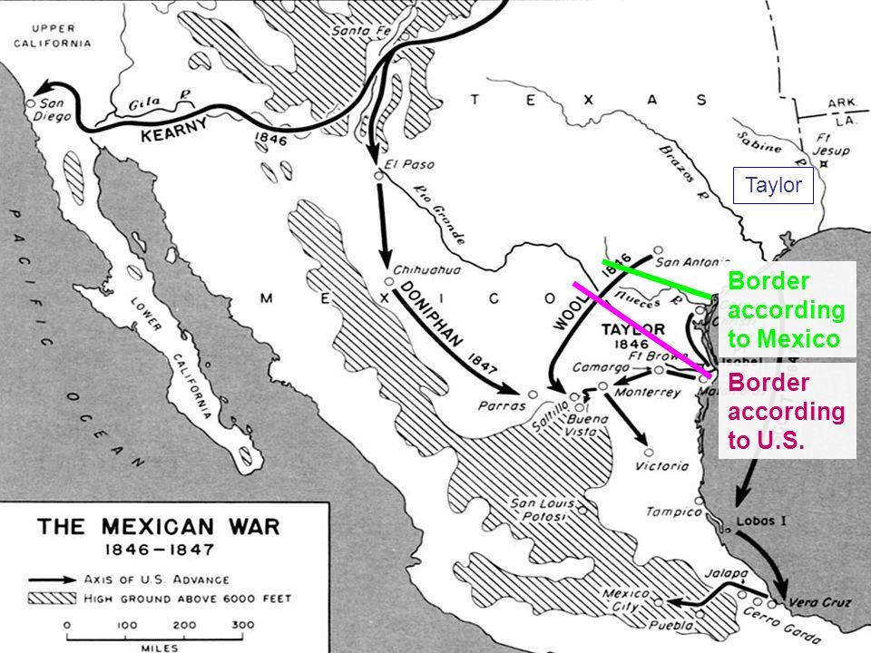 Taylor Border according to Mexico Border according to U.S.