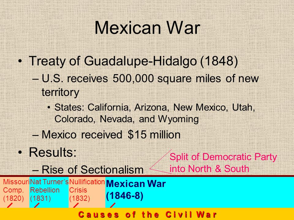 Treaty of Guadalupe-Hidalgo (1848) –U–U.S. receives 500,000 square miles of new territory States: California, Arizona, New Mexico, Utah, Colorado, Nev