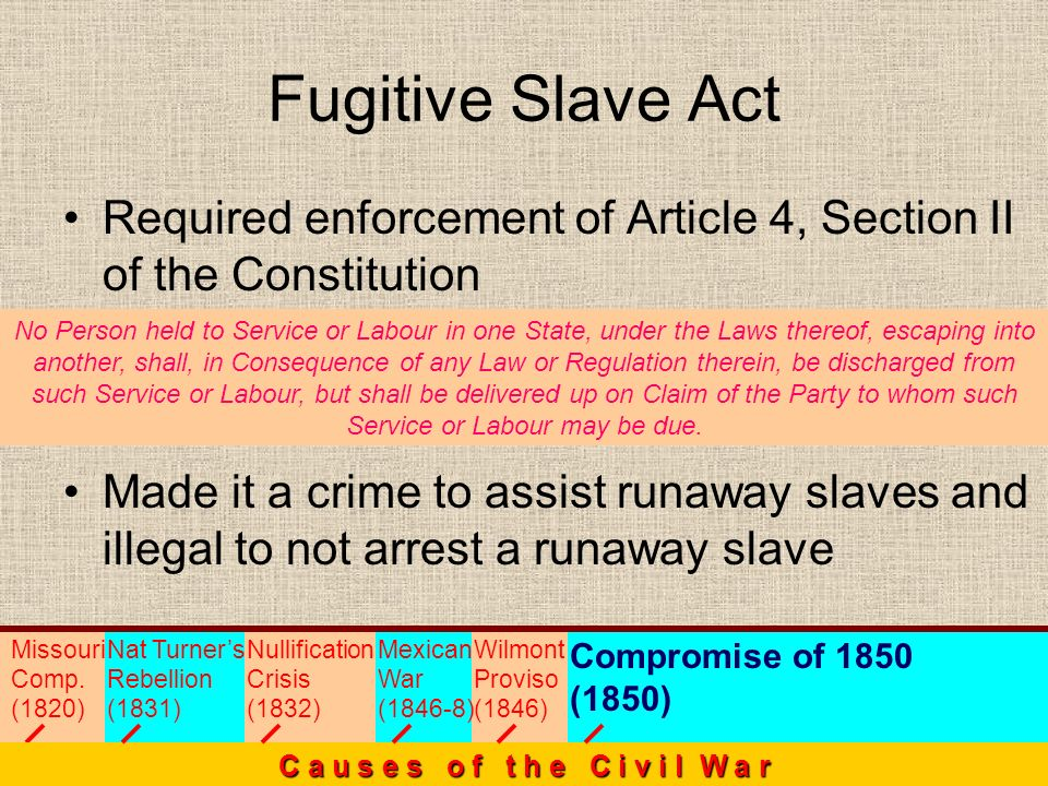 Required enforcement of Article 4, Section II of the Constitution Made it a crime to assist runaway slaves and illegal to not arrest a runaway slave F