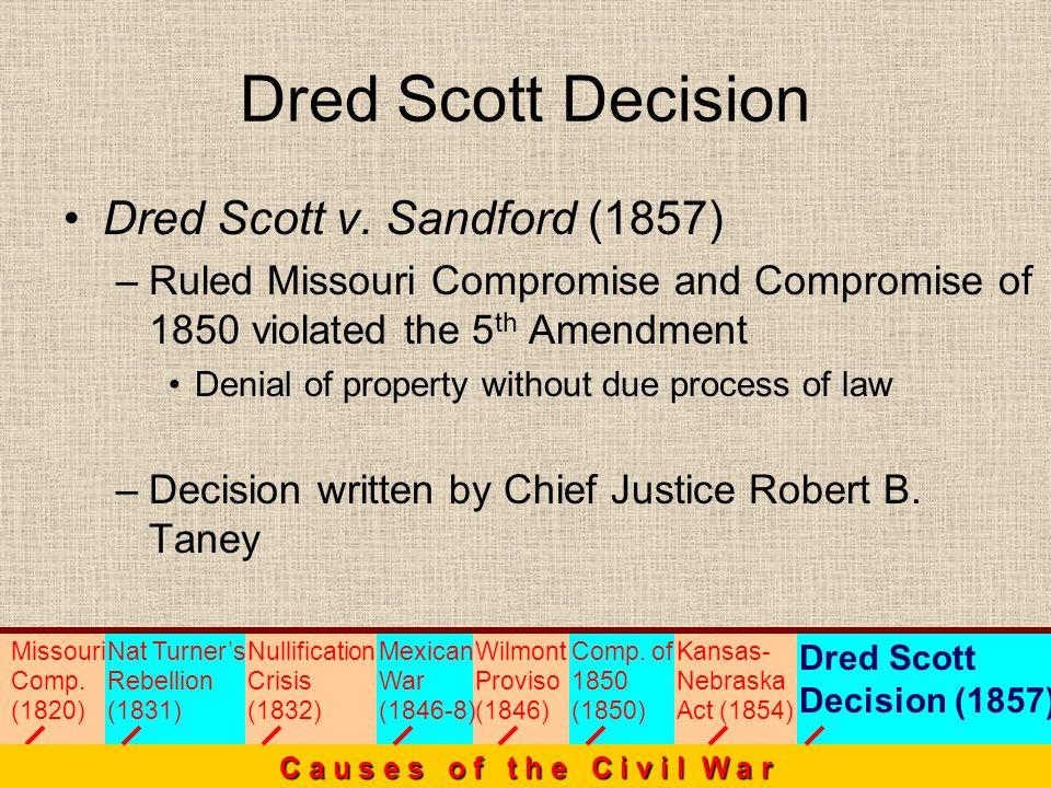 Dred Scott Decision Missouri Comp. (1820) C a u s e s o f t h e C i v i l W a r Nat Turners Rebellion (1831) Nullification Crisis (1832) Mexican War (