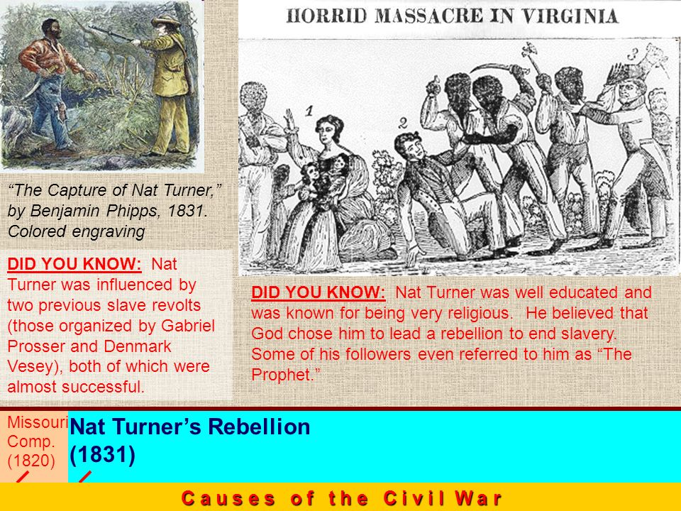 Missouri Comp. (1820) Nat Turners Rebellion (1831) C a u s e s o f t h e C i v i l W a r DID YOU KNOW: Nat Turner was well educated and was known for