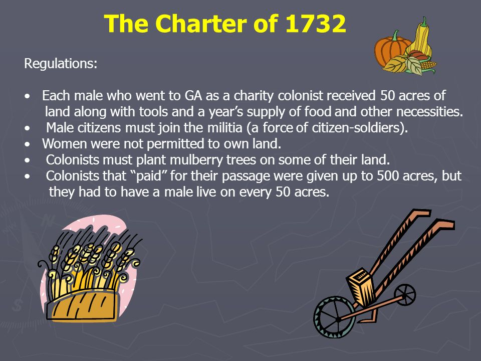 The Charter of 1732 Regulations: Each male who went to GA as a charity colonist received 50 acres of land along with tools and a years supply of food