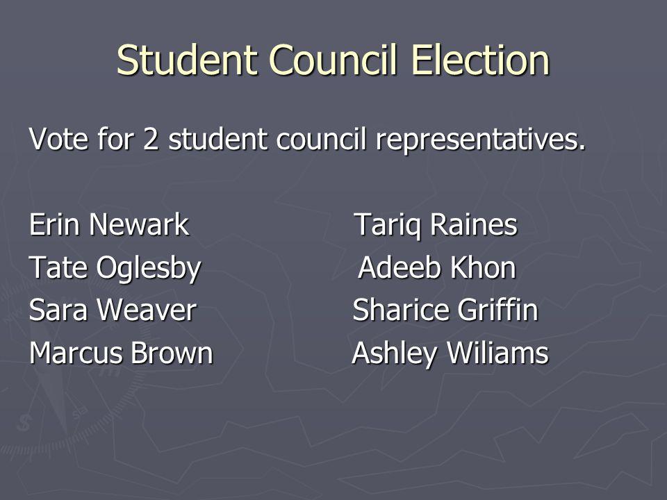Student Council Election Vote for 2 student council representatives. Erin Newark Tariq Raines Tate Oglesby Adeeb Khon Sara Weaver Sharice Griffin Marc
