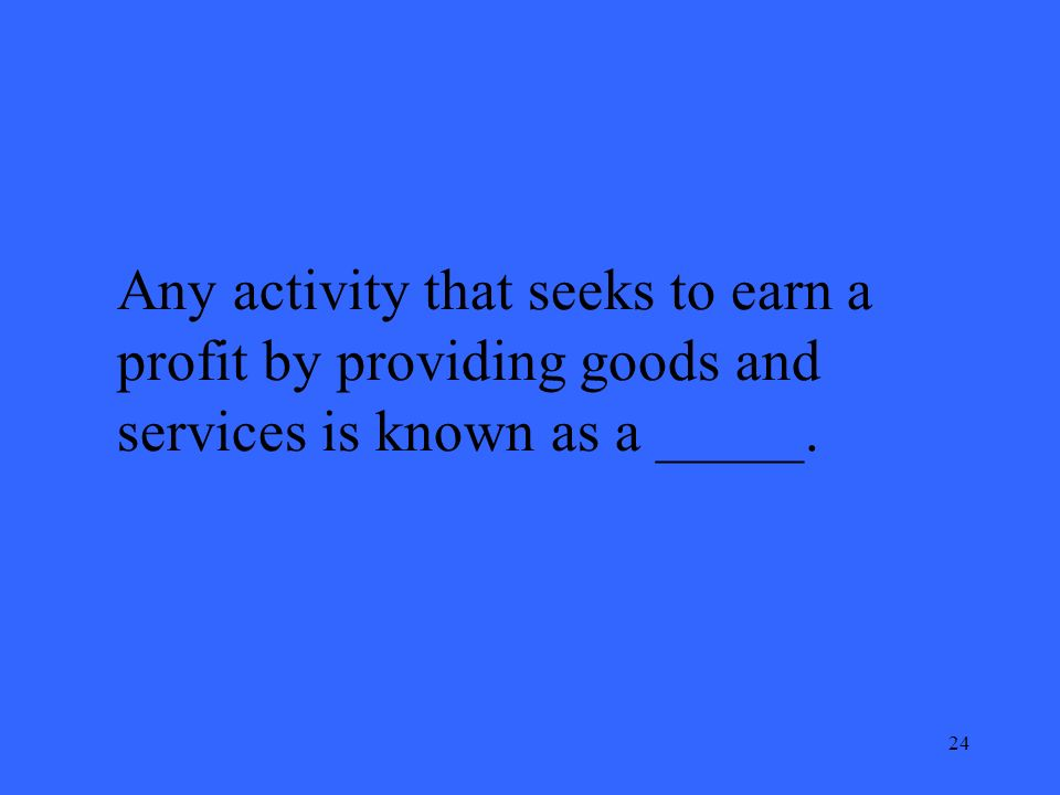 24 Any activity that seeks to earn a profit by providing goods and services is known as a _____.