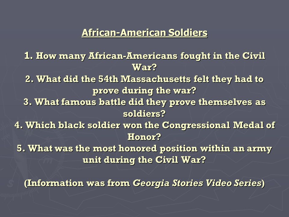 African-American Soldiers 1. How many African-Americans fought in the Civil War.