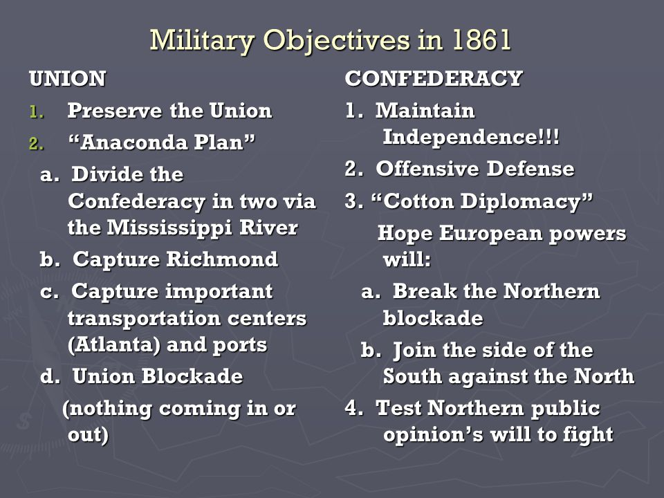 Military Objectives in 1861 UNION 1. Preserve the Union 2.