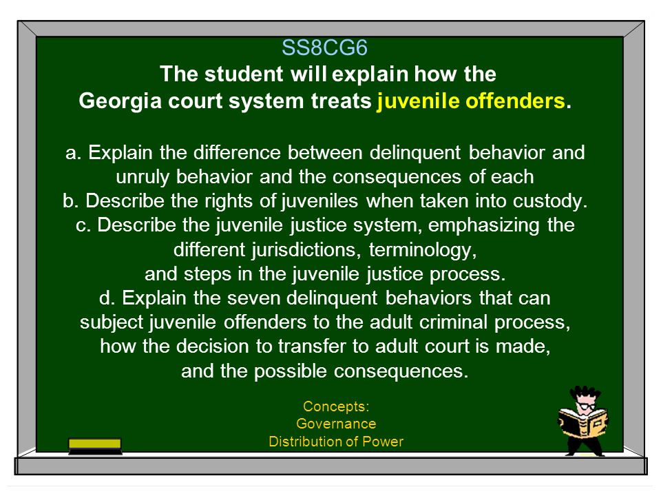 SS8CG6 The student will explain how the Georgia court system treats juvenile offenders. a. Explain the difference between delinquent behavior and unru
