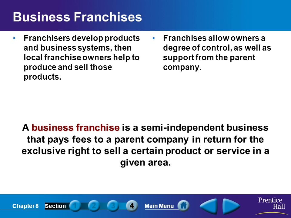 Chapter 8SectionMain Menu business franchise A business franchise is a semi-independent business that pays fees to a parent company in return for the