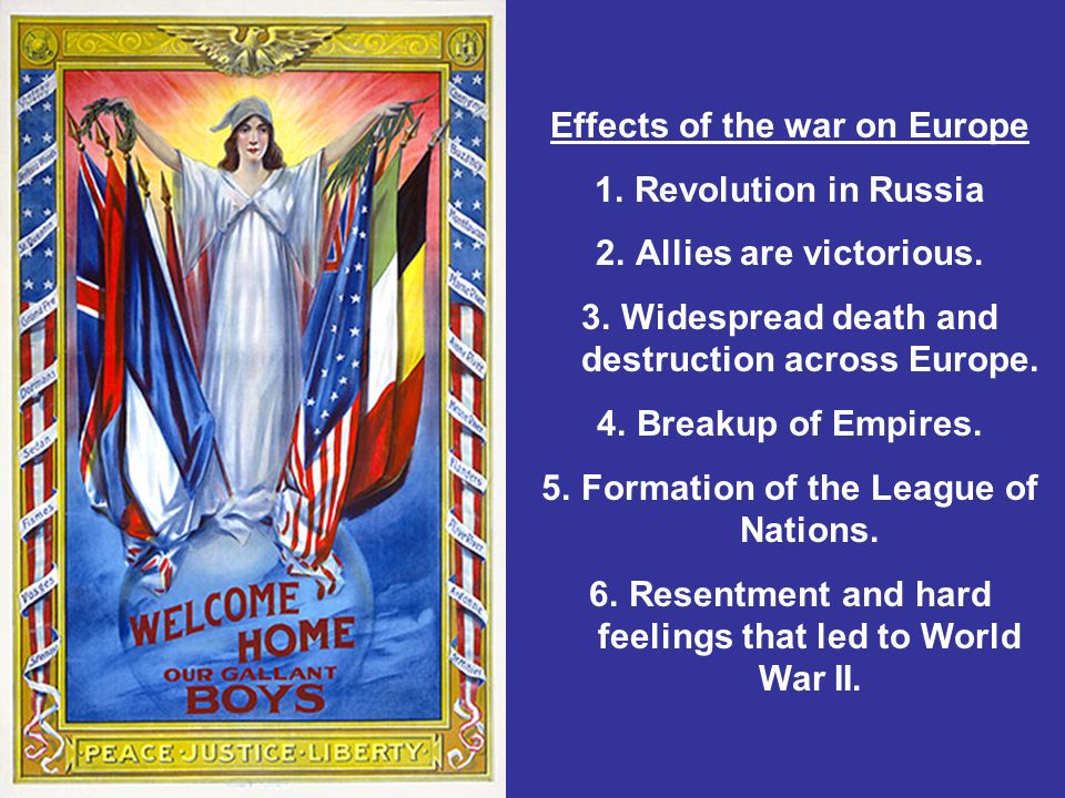 Effects of the war on Europe 1.Revolution in Russia 2.Allies are victorious.