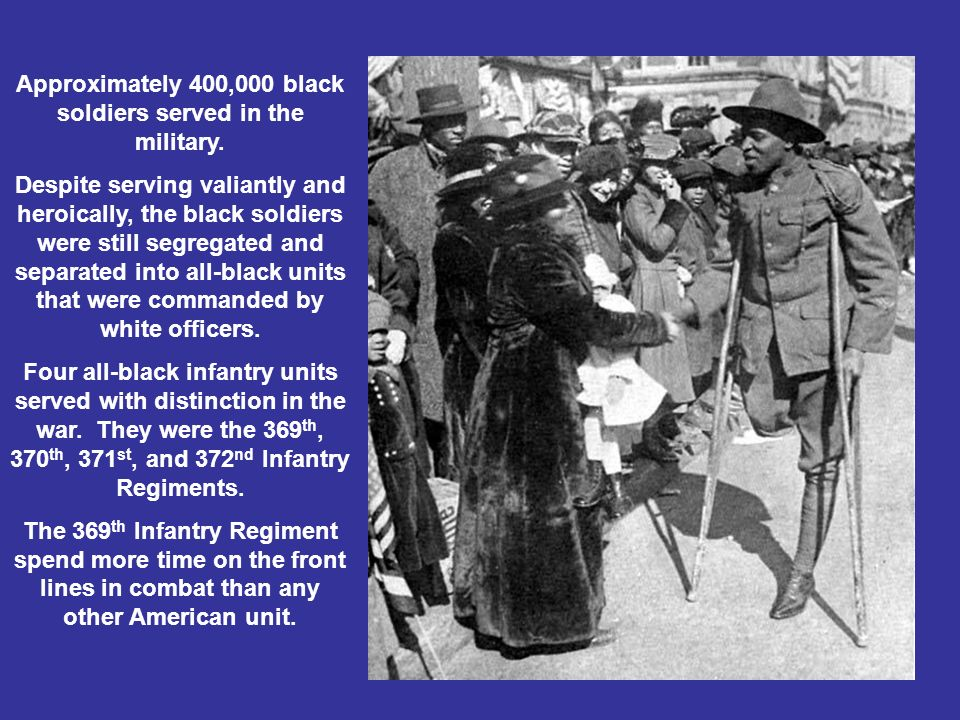 Approximately 400,000 black soldiers served in the military.