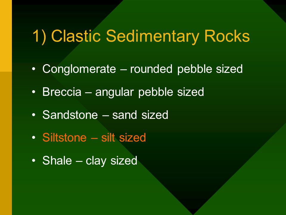 1) Clastic Sedimentary Rocks Conglomerate – rounded pebble sized Breccia – angular pebble sized Sandstone – sand sized Siltstone – silt sized Shale –