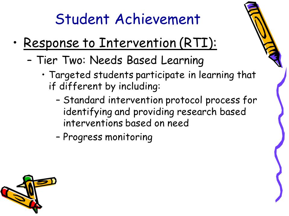 Student Achievement Response to Intervention (RTI): –Tier Two: Needs Based Learning Targeted students participate in learning that if different by inc