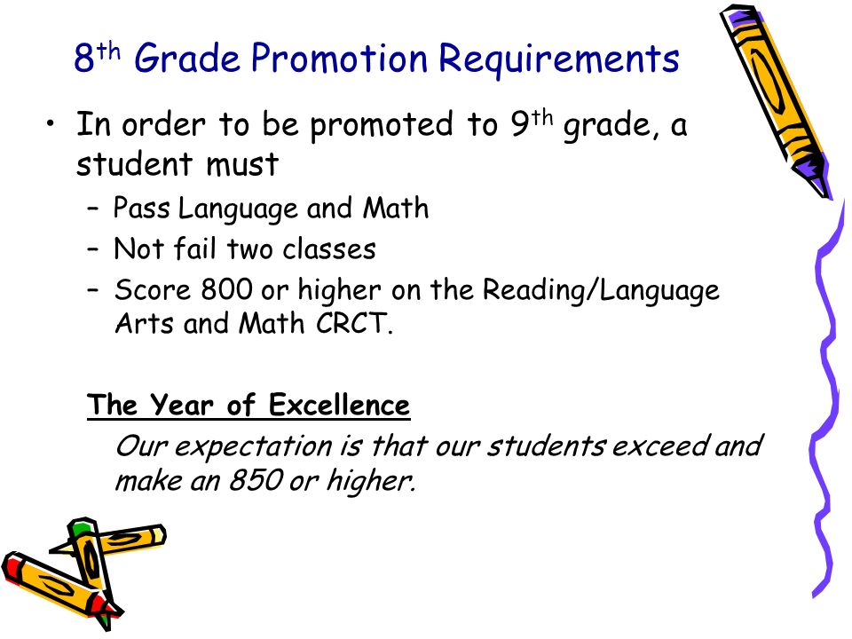 8 th Grade Promotion Requirements In order to be promoted to 9 th grade, a student must –Pass Language and Math –Not fail two classes –Score 800 or hi