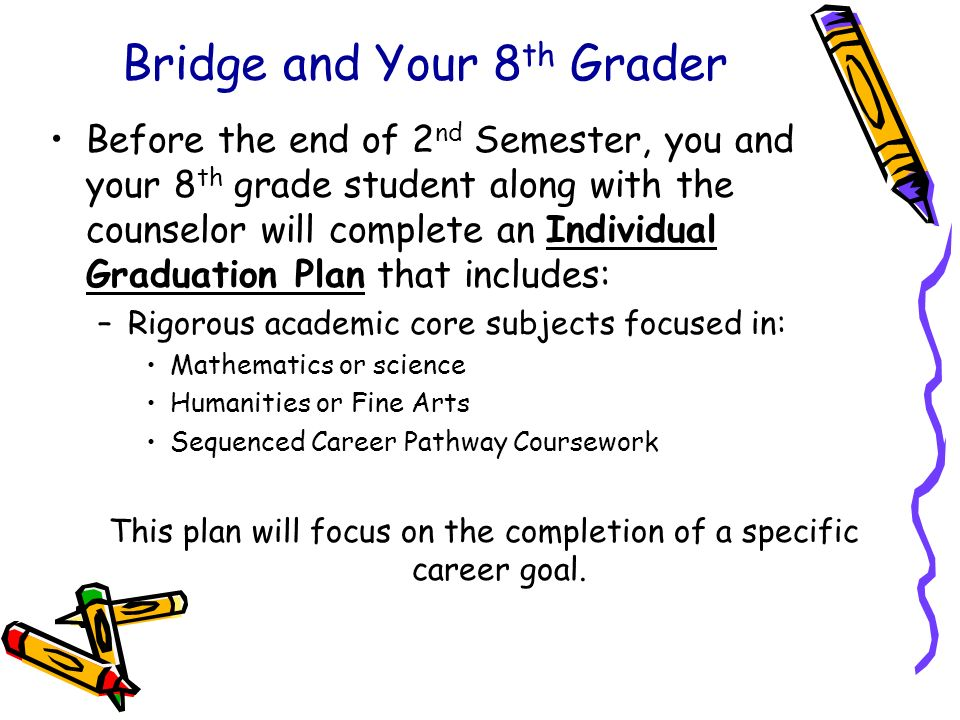 Bridge and Your 8 th Grader Before the end of 2 nd Semester, you and your 8 th grade student along with the counselor will complete an Individual Grad