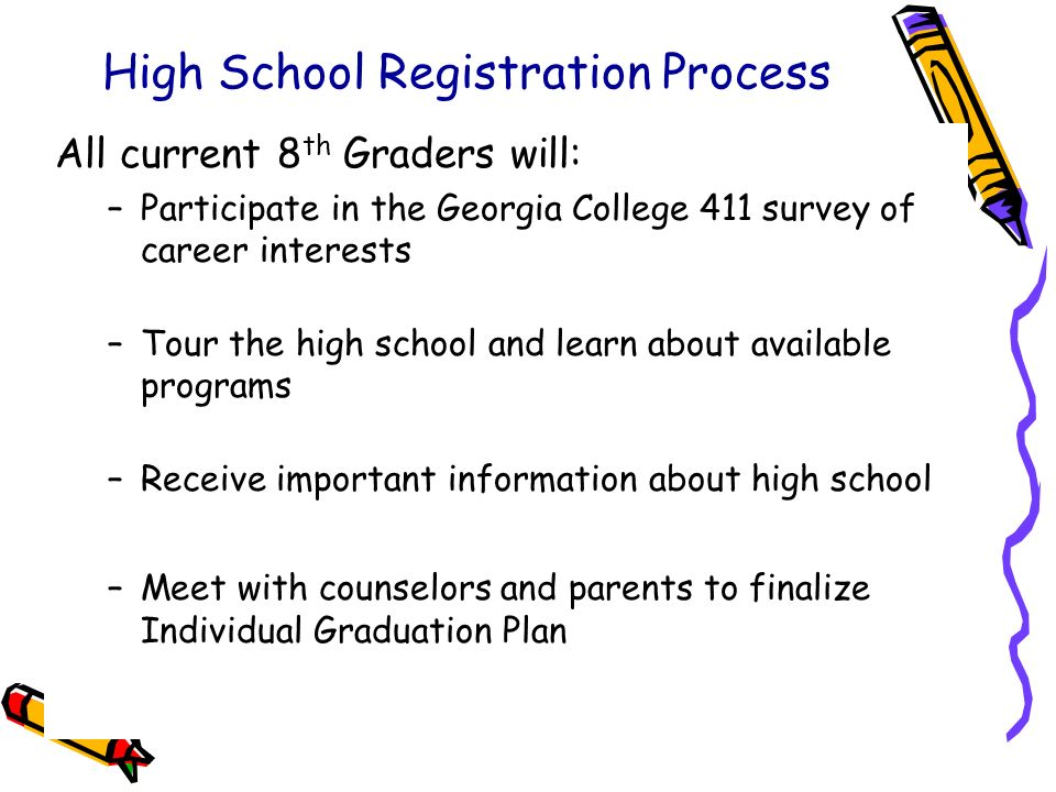 Bibb County Schools: 2009-2010 School Year High School Registration Process All current 8 th Graders will: –Participate in the Georgia College 411 sur
