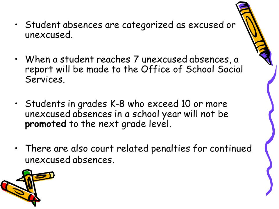 Student absences are categorized as excused or unexcused. When a student reaches 7 unexcused absences, a report will be made to the Office of School S