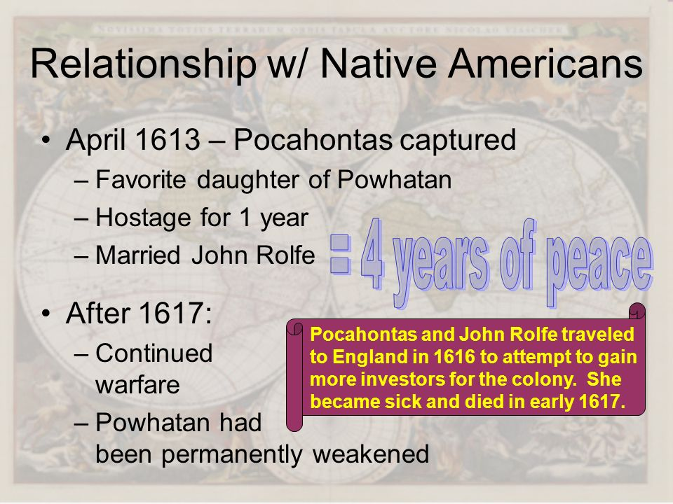 Relationship w/ Native Americans April 1613 – Pocahontas captured –Favorite daughter of Powhatan –Hostage for 1 year –Married John Rolfe Pocahontas an