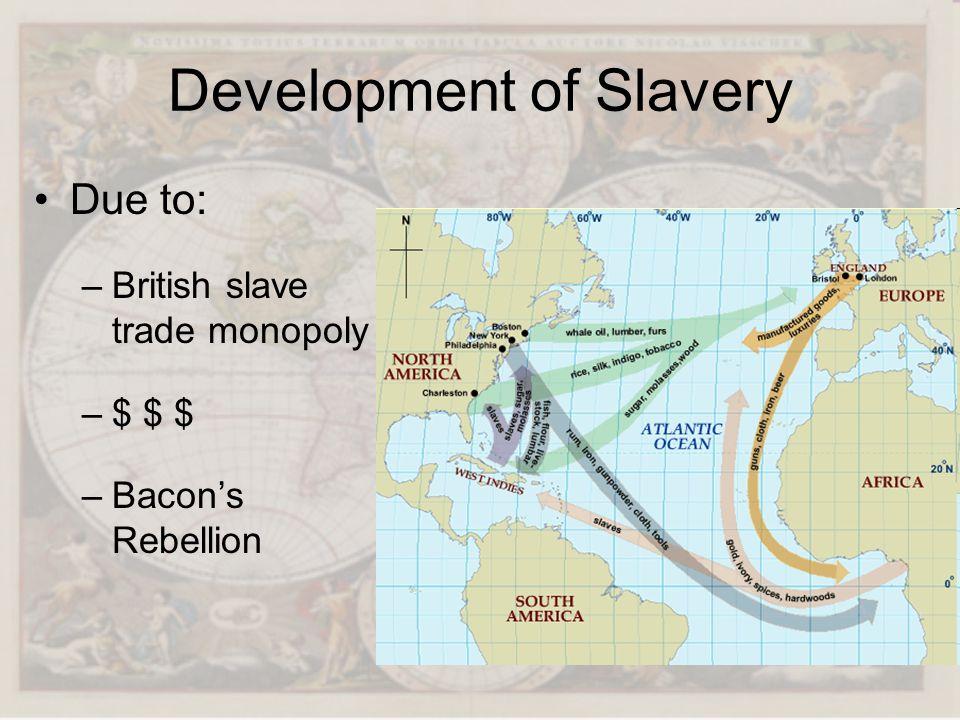 Development of Slavery Due to: –British slave trade monopoly –$ $ $ –Bacons Rebellion
