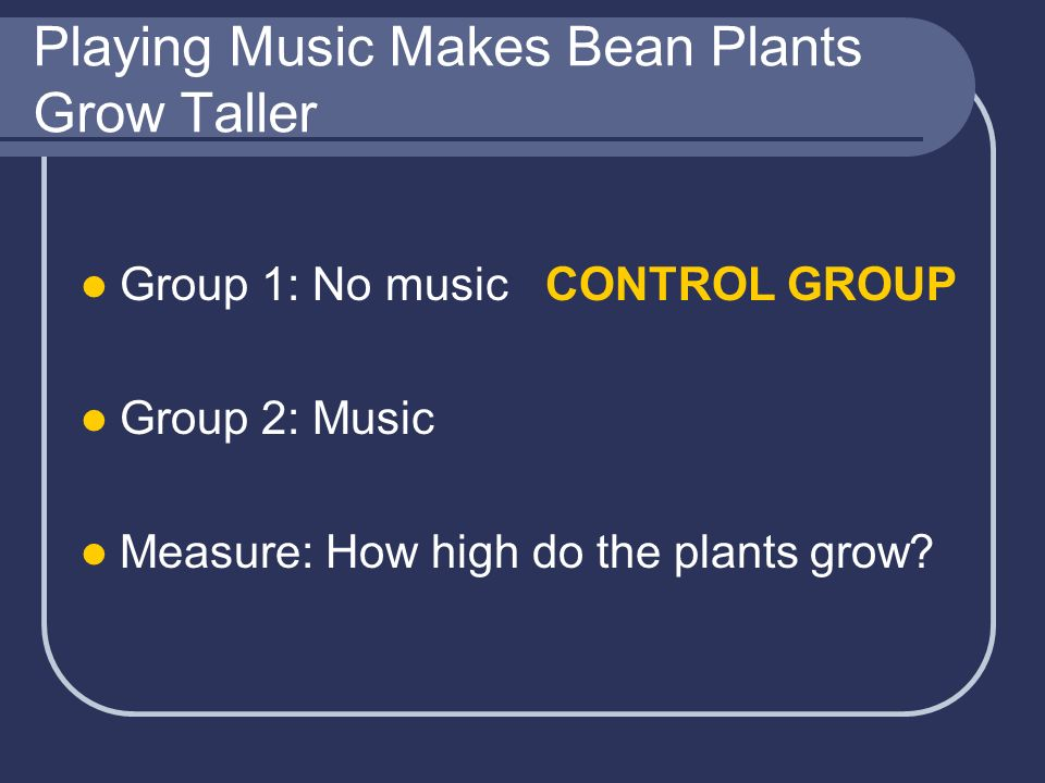 Playing Music Makes Bean Plants Grow Taller Group 1: No music CONTROL GROUP Group 2: Music Measure: How high do the plants grow?