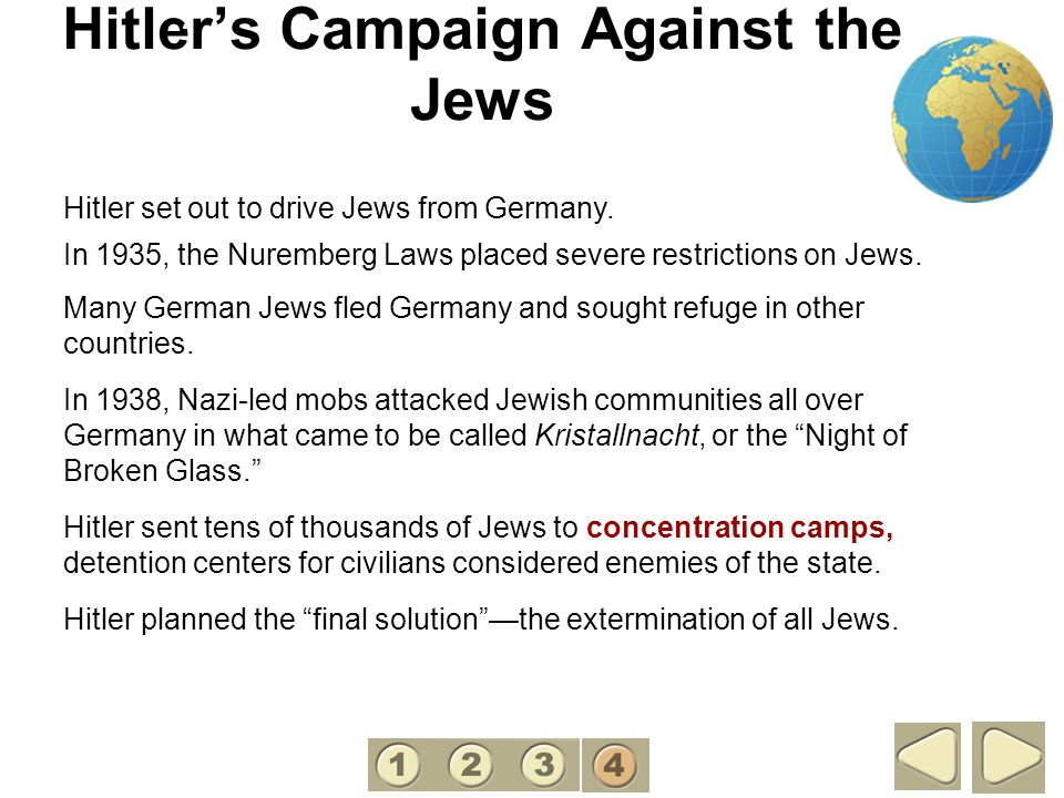 Hitlers Campaign Against the Jews Hitler set out to drive Jews from Germany. In 1935, the Nuremberg Laws placed severe restrictions on Jews. Many Germ