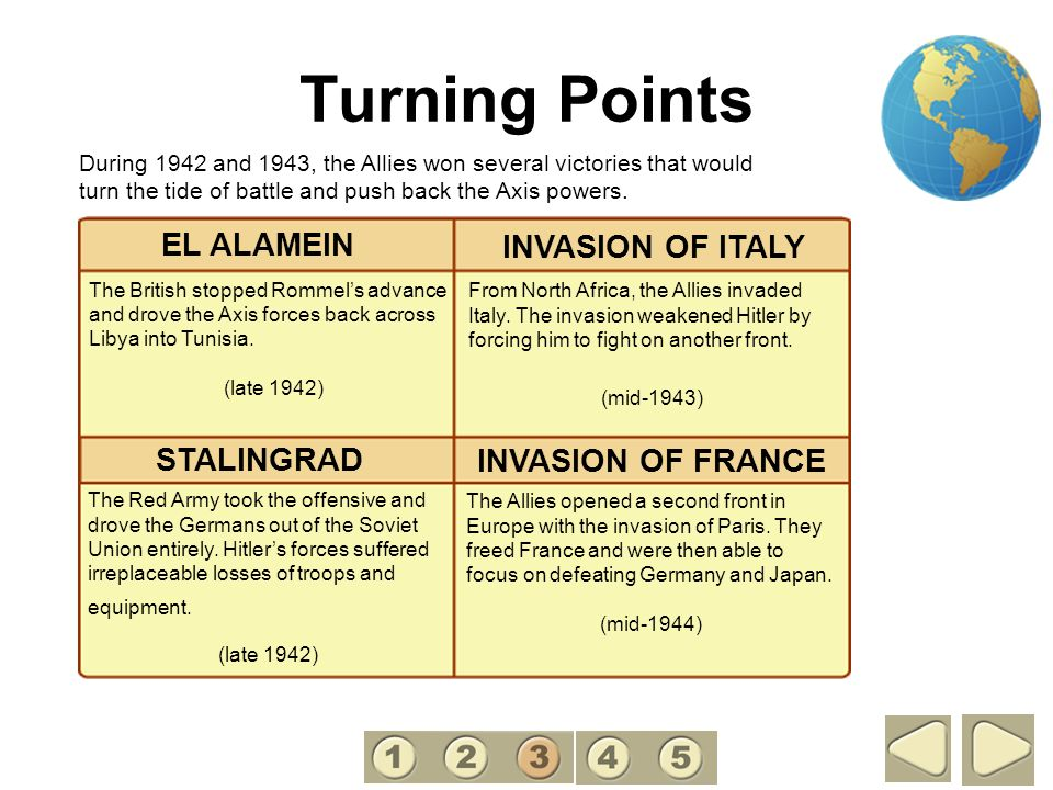 Turning Points The Allies opened a second front in Europe with the invasion of Paris. They freed France and were then able to focus on defeating Germa