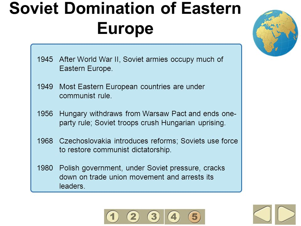 Soviet Domination of Eastern Europe 5 1945 After World War II, Soviet armies occupy much of Eastern Europe. 1949Most Eastern European countries are un