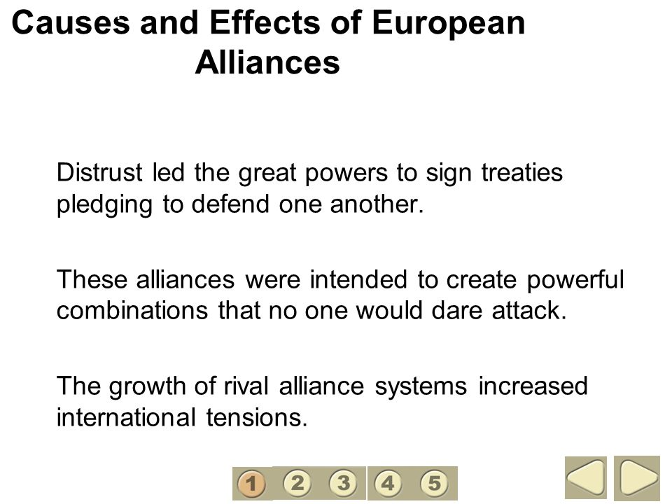 Causes and Effects of European Alliances Distrust led the great powers to sign treaties pledging to defend one another. These alliances were intended