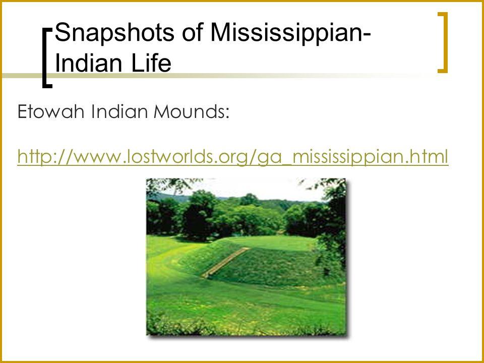 Etowah Indian Mounds: http://www.lostworlds.org/ga_mississippian.html Stallings Island Site Pottery