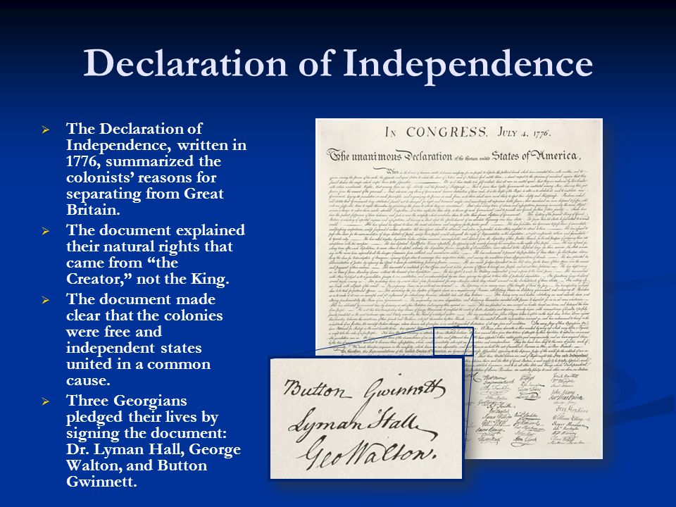 Declaration of Independence The Declaration of Independence, written in 1776, summarized the colonists reasons for separating from Great Britain. The