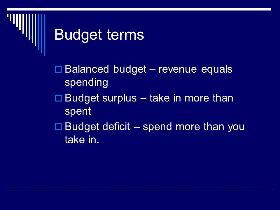 Budget terms Balanced budget – revenue equals spending Budget surplus – take in more than spent Budget deficit – spend more than you take in.