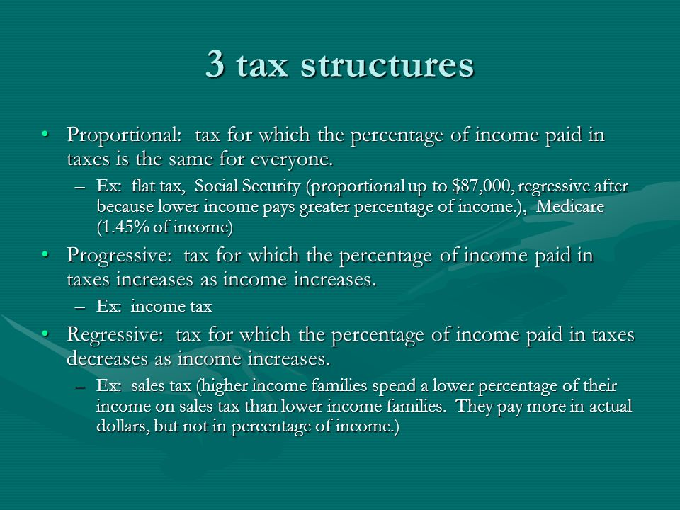 3 tax structures Proportional: tax for which the percentage of income paid in taxes is the same for everyone.Proportional: tax for which the percentag