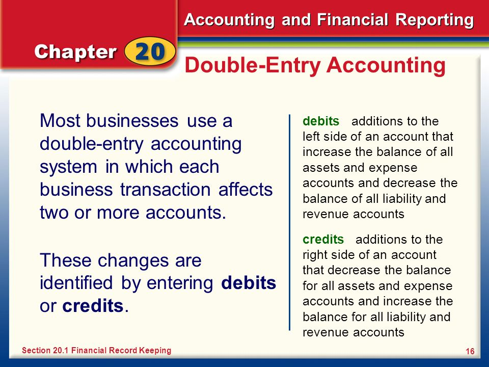 Accounting and Financial Reporting 16 Double-Entry Accounting Most businesses use a double-entry accounting system in which each business transaction