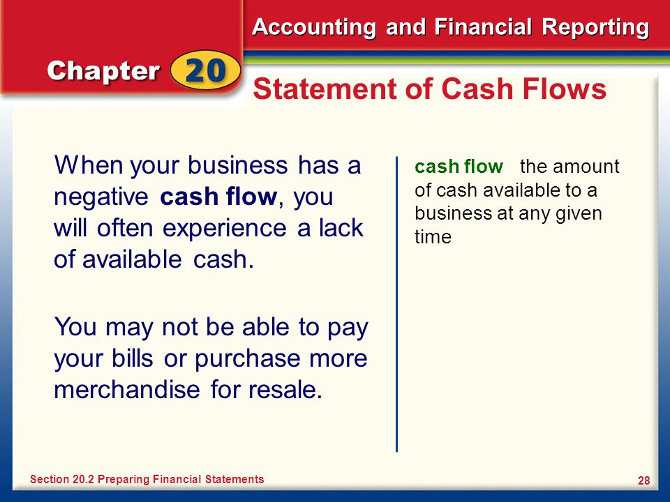 Accounting and Financial Reporting 28 Statement of Cash Flows When your business has a negative cash flow, you will often experience a lack of availab
