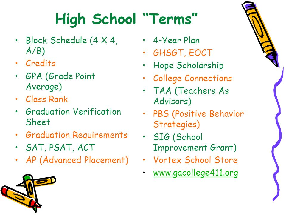 High School Terms Block Schedule (4 X 4, A/B) Credits GPA (Grade Point Average) Class Rank Graduation Verification Sheet Graduation Requirements SAT,