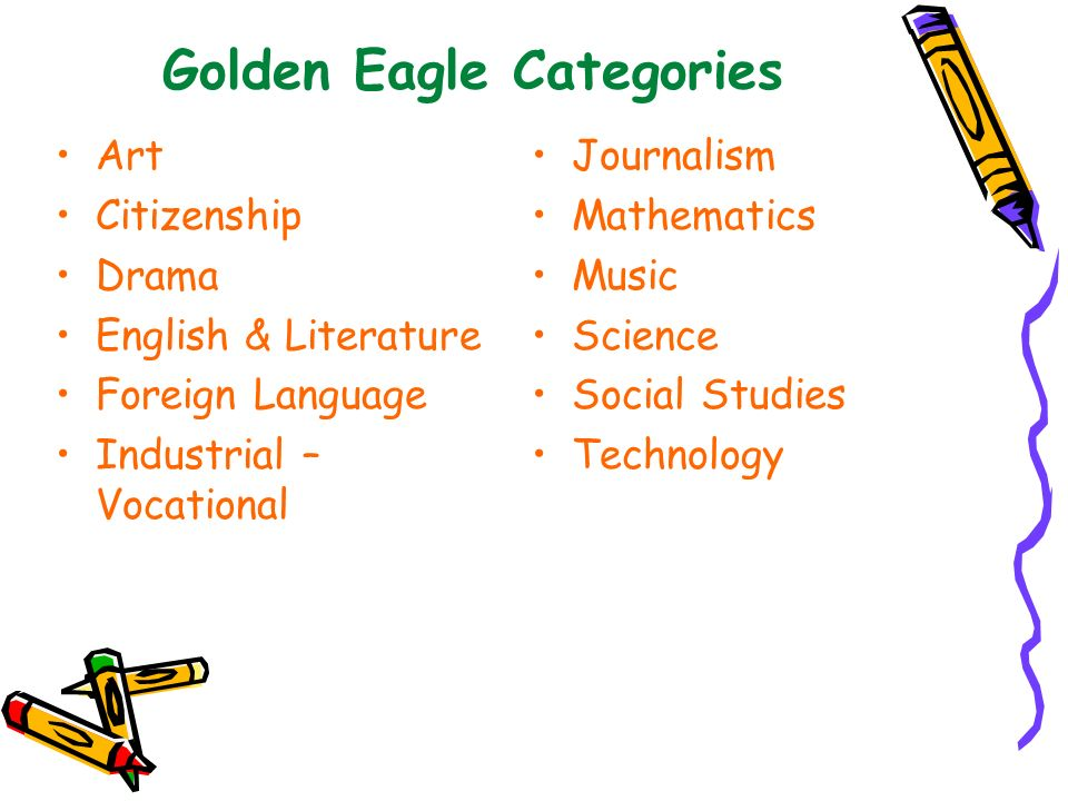 Golden Eagle Categories Art Citizenship Drama English & Literature Foreign Language Industrial – Vocational Journalism Mathematics Music Science Socia