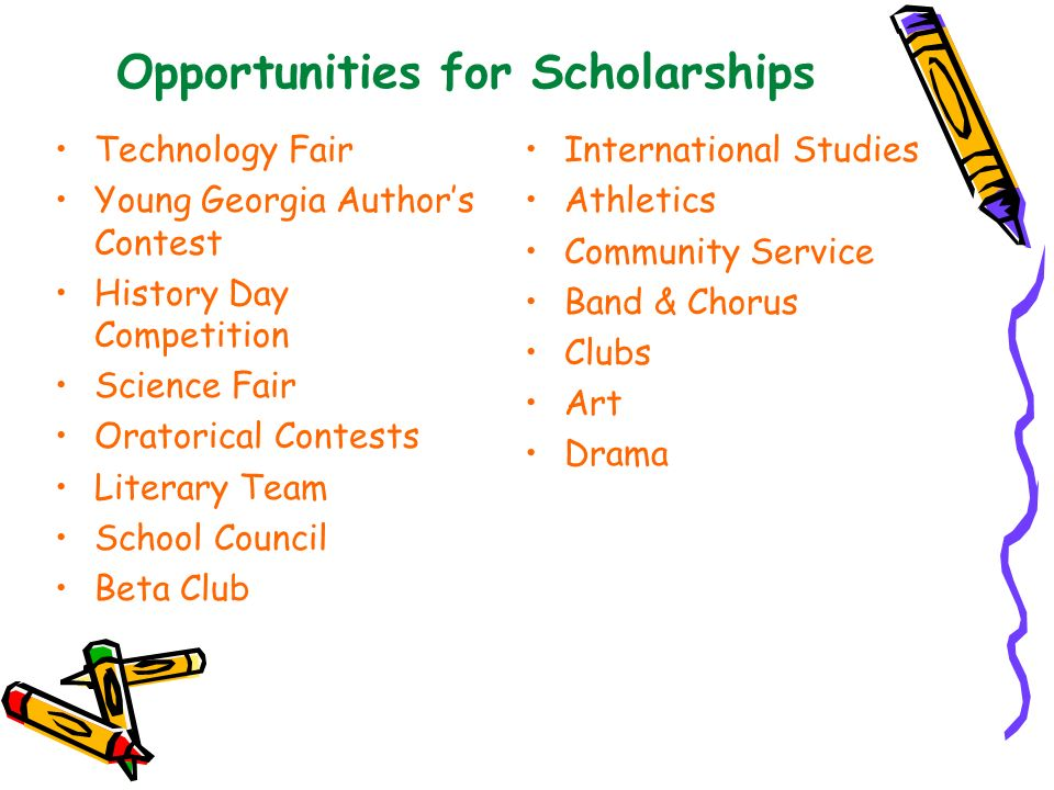 Opportunities for Scholarships Technology Fair Young Georgia Authors Contest History Day Competition Science Fair Oratorical Contests Literary Team Sc