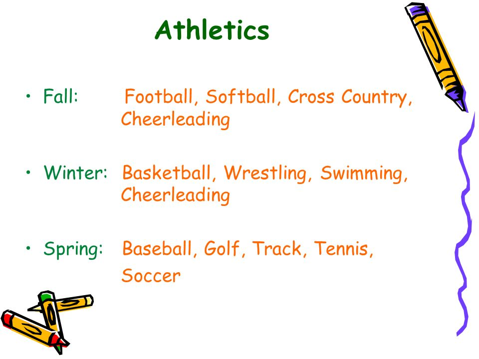 Athletics Fall: Football, Softball, Cross Country, Cheerleading Winter: Basketball, Wrestling, Swimming, Cheerleading Spring: Baseball, Golf, Track, T