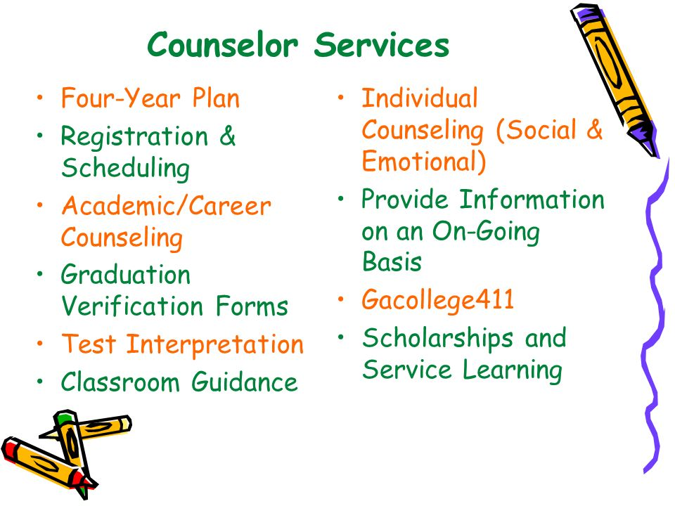 Counselor Services Four-Year Plan Registration & Scheduling Academic/Career Counseling Graduation Verification Forms Test Interpretation Classroom Gui