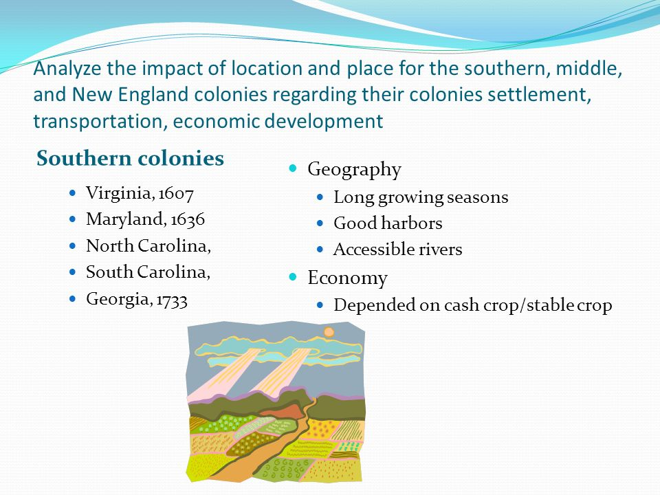 Analyze the impact of location and place for the southern, middle, and New England colonies regarding their colonies settlement, transportation, econo