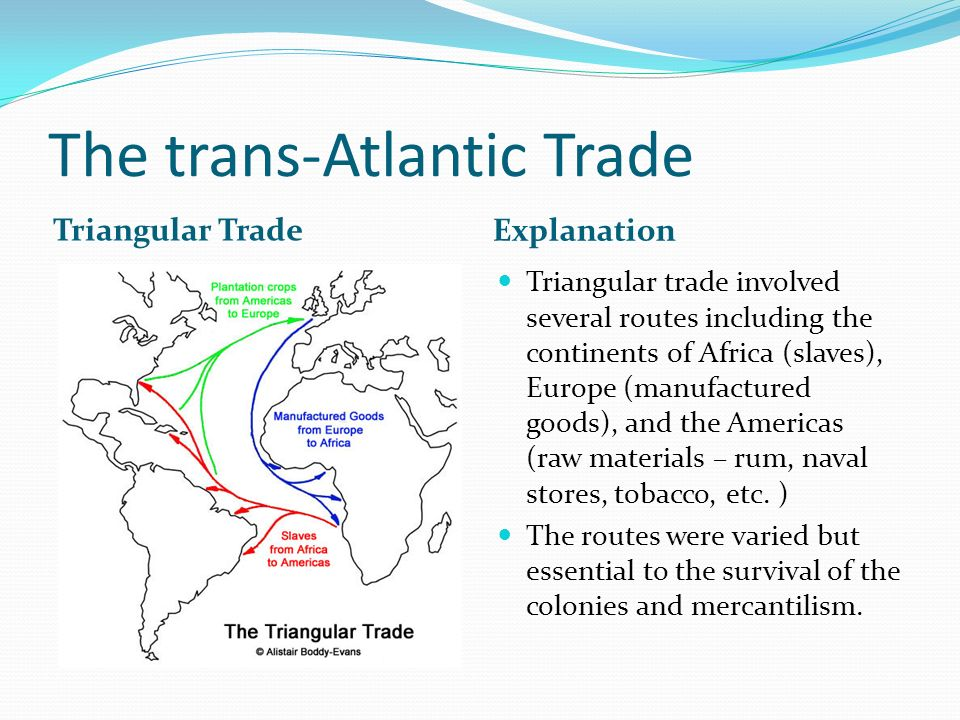 The trans-Atlantic Trade Triangular Trade Explanation Triangular trade involved several routes including the continents of Africa (slaves), Europe (ma